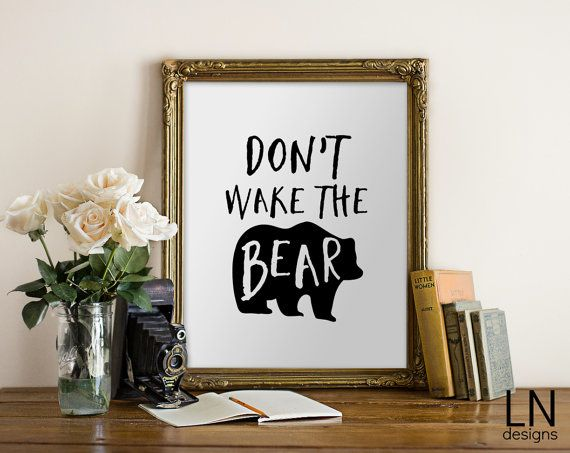 Instant 'Don't wake the bear' Fun Art by mylovenotedesigns on Etsy