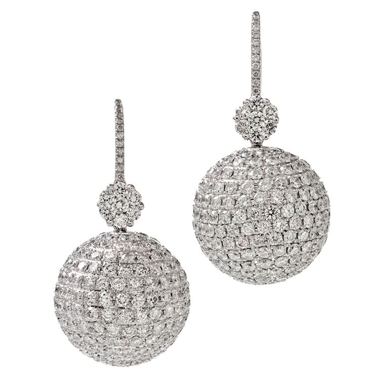 "Fourtane Extra Fine Diamond ""Disco Ball"" Platinum Earrings"
