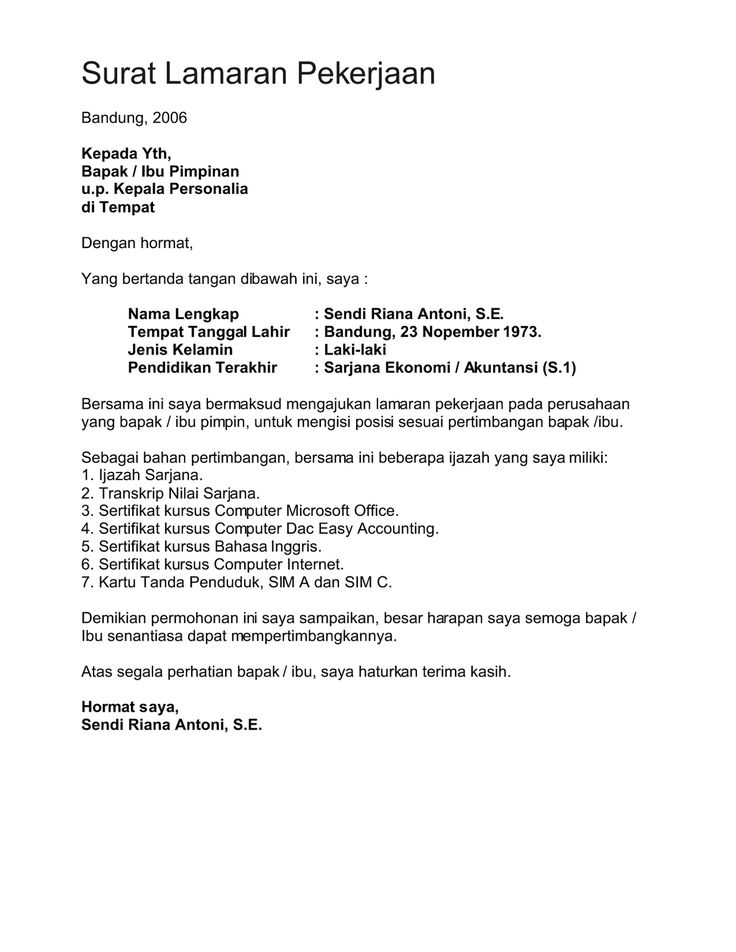 7 Surat Lamaran Pekerjaan Bahasa Indonesia