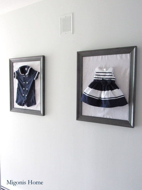 Migonis Home | Meaningful children's outfits in frames | Hallway Makeover | http://migonishome.porch.com
