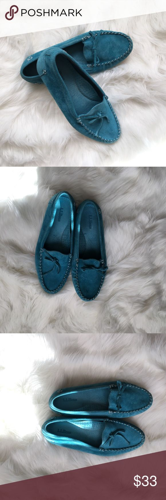 LL Bean Suede Moccasins Size 8 M. Great condition. Beautiful Teal. Suede. L.L. Bean Shoes Moccasins