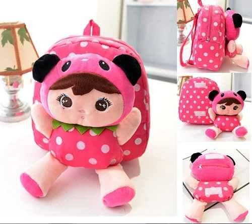 mochila infantil criança ou bebê personagem boneca pelúcia