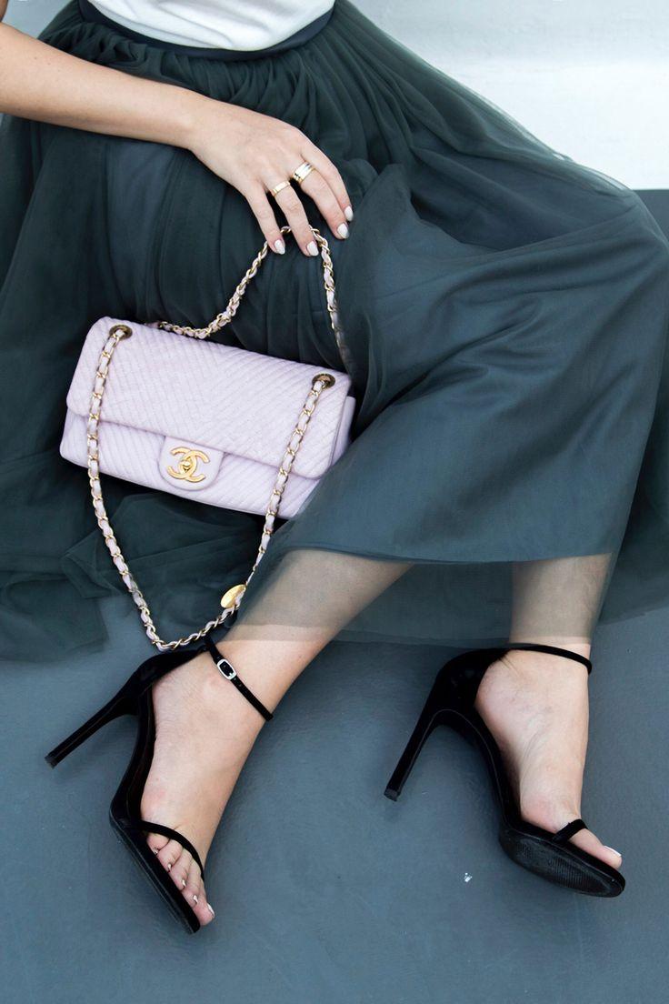 Stuart Weitzman nudist sandals and pink Chanel chevron bag - Stella Asteria