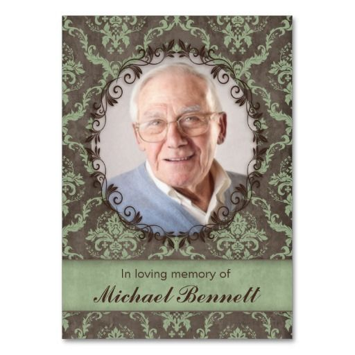 Memorial Photo Card Vintage Damask Green Brown Business Card Templates $28.95 / 100 pack :: click for SALES!!