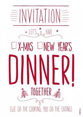 Uitnodiging voor kerst dinner kerstkaart van FDBCK cards versturen bij Kaartwereld: 20% korting bij het maken van een gratis account.