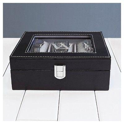 Monogram Leatherette Groomsmen Gift Watch Jewelry Box - L, Black