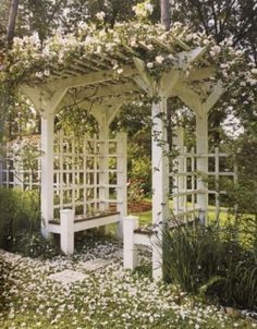 """previous pinner wrote, """"What a lovely gazebo!""""  me thinks a small pergola with seating:)  ~pp"""