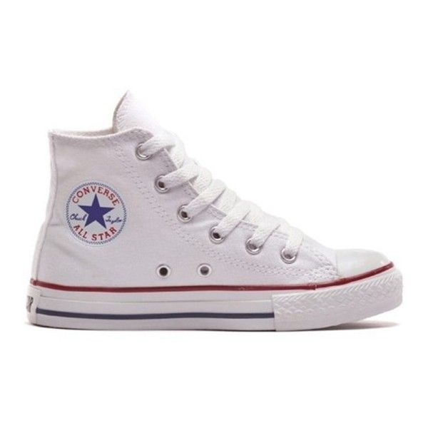 Converse White Chuck Taylor All Star High Top Trainers ($46) ❤ liked on Polyvore featuring shoes, sneakers, star sneakers, white shoes, converse high tops, converse shoes and high-top sneakers