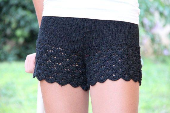 Black Knit Lace Shorts Crocheted Shorts Womens Knit by ettygeller, $64.00