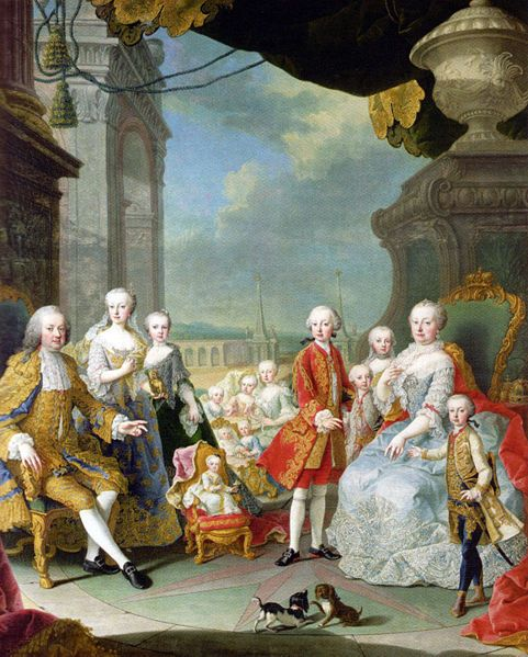 Maria Theresa, Archduchess of the Holy Roman Empire and the imperial family, 1755 by Martin van Meytens. A new born Marie Antoinette is in the gilded cradle in the center of the painting.