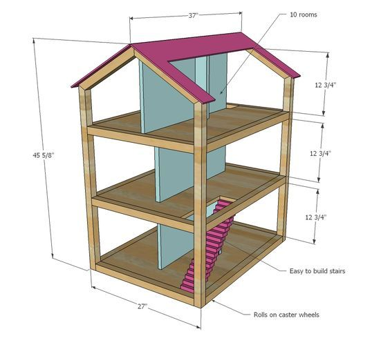 Ana White | Build a Dream Dollhouse | Free and Easy DIY Project and Furniture Plans: