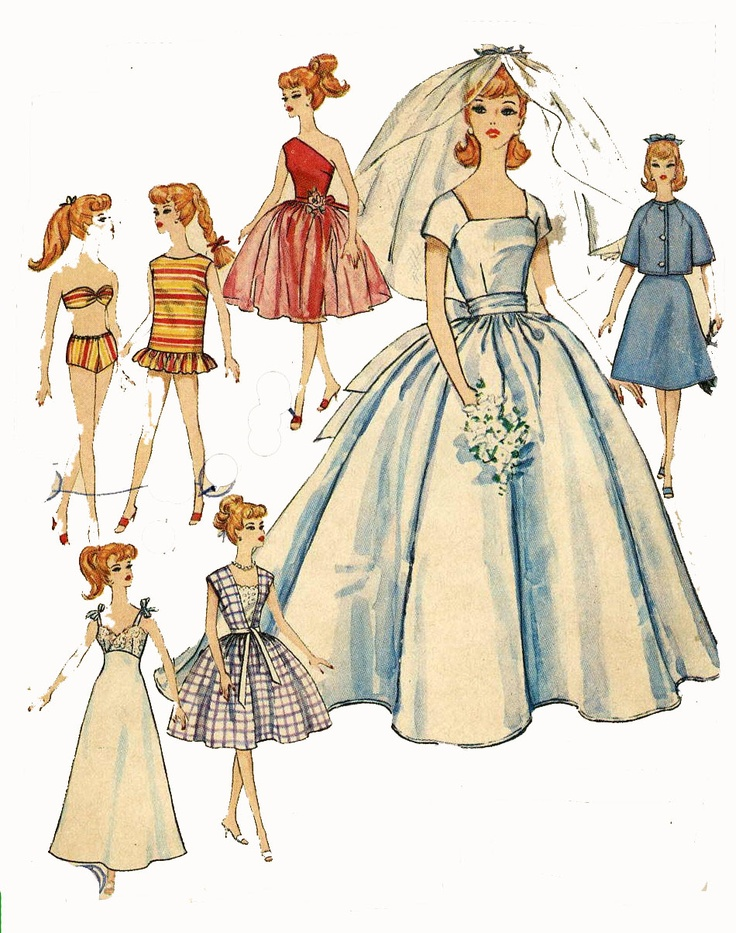 Vintage Doll Clothes PATTERN 4510 for 11 1/2 in Barbie ...