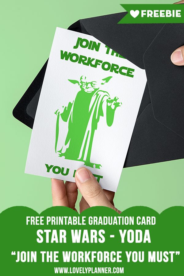 Free Printable Star Wars Graduation Card Yoda Geeky Disney