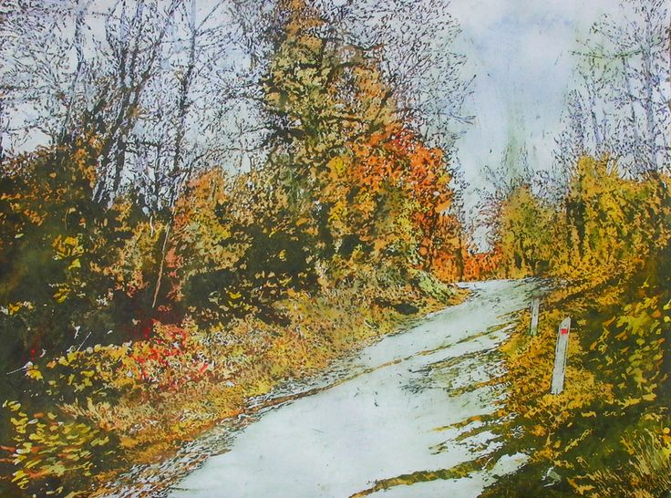 "road thru october 22"" x 30"" micheal zarowsky watercolour on arches paper - private collection"