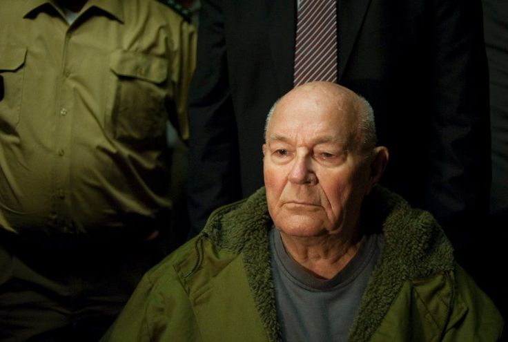 Here, former Sobibór death camp guard John Demjanjuk is pictured during his...
