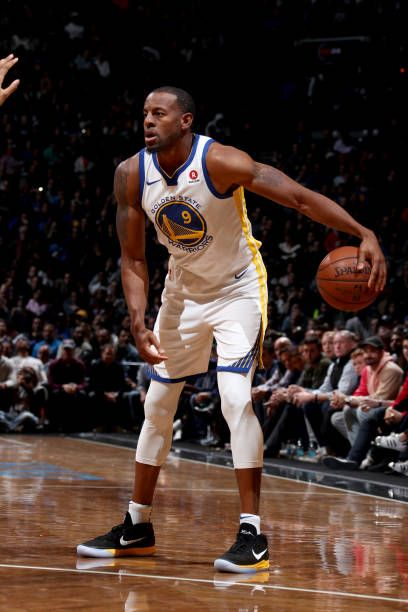 Andre Iguodala of the Golden State Warriors handles the ball against the Brooklyn Nets on November 19 2017 at Barclays Center in Brooklyn New York...