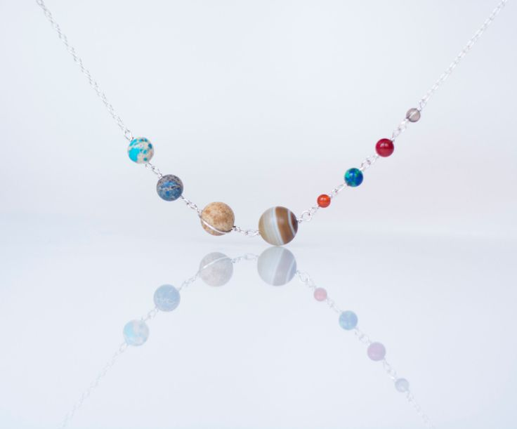 Solar System Necklace - Stone Bead Planets Universe Galaxy Nebula Space - Sterling Silver by MirielDesign on Etsy https://www.etsy.com/listing/179736233/solar-system-necklace-stone-bead-planets