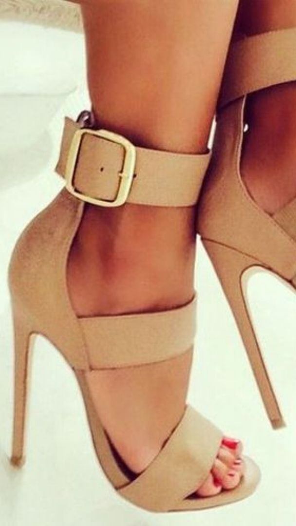Nude High Heels Sandals Business Lady Summer Look 2015