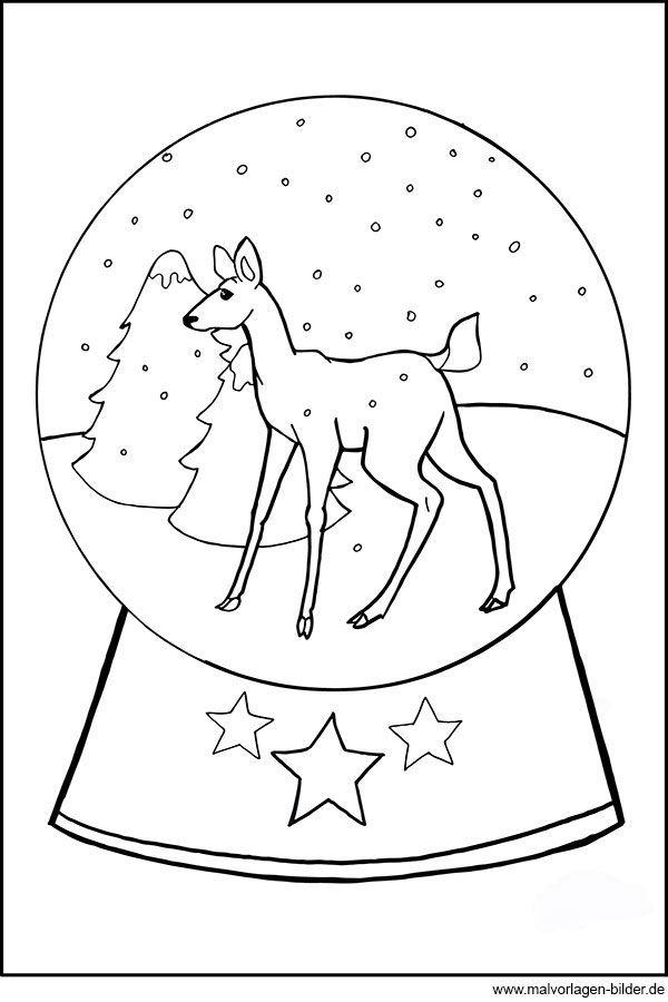 Gratis Ausmalbild Mit Einer Schneekugel Und Einem Kleinen Reh Malvorlagen Weihnachten Ausmalbilder Ausmalen