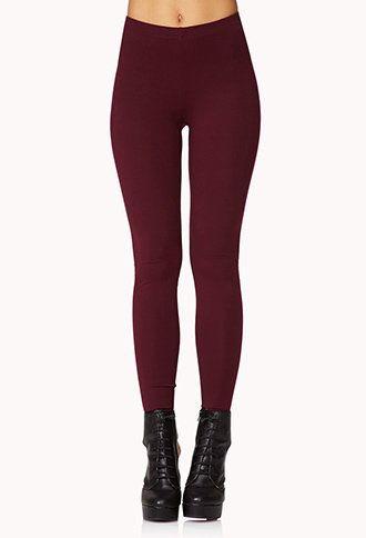 basic maroon leggings