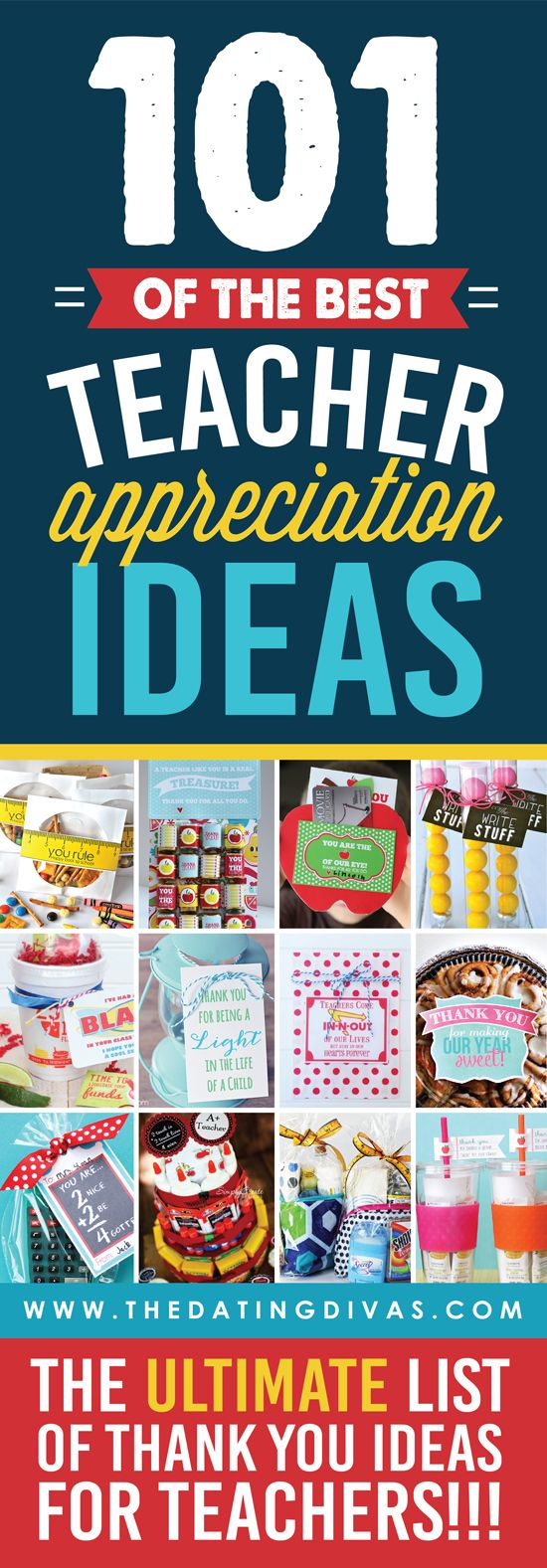 WOWZER! This is seriously the ULTIMATE list of teacher appreciation ideas! Quick and easy gift ideas, FREE printables, door decoration ideas, and SO MUCH MORE!!! www.TheDatingDivas.com