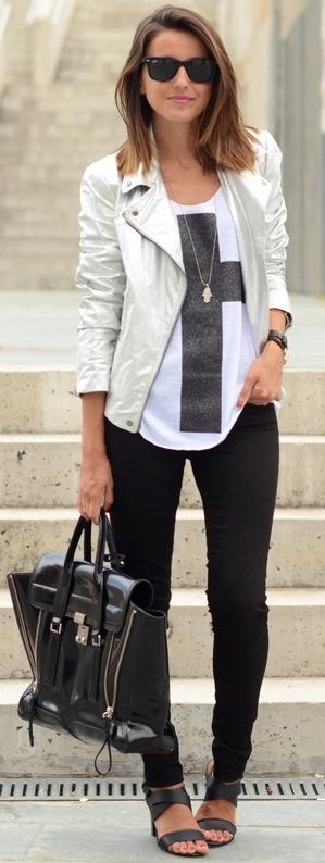 White blazer, black skinnys, low black heels, white cross shirt
