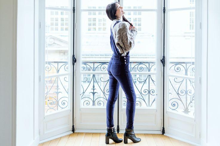 women dungarees velvet slim / salopette femme slim 2en1 baltimore-paris en velours navy