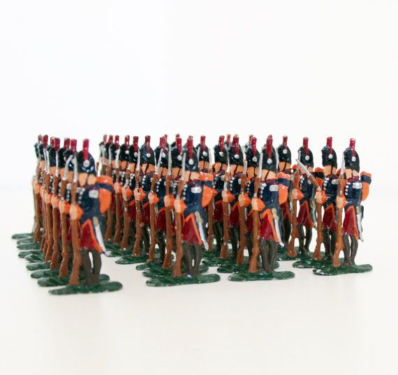 34 pcs Antique Tin Soldiers Lead Soldiers by OldPrintLoft on Etsy
