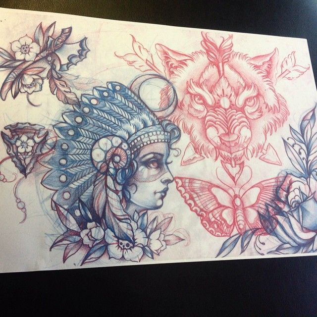 Tattoostraditional On Pinterest: Neo Traditional Native American Tattoo