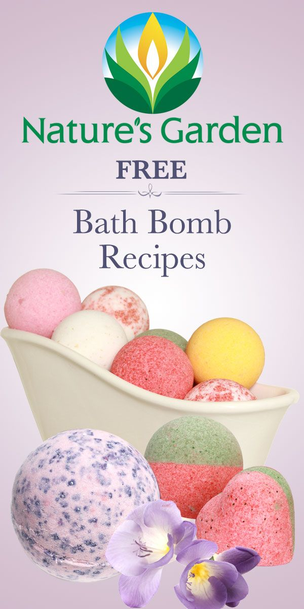 Free bath bomb recipes from Natures Garden. #bathbombs