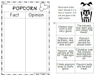 Great FREEBIE lesson using popcorn to teach fact and opinion.  Includes some math as well