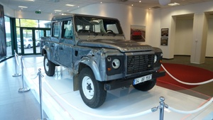 This Landrover Defender 110 double cab pick-up, is driven in the opening sequence of the 23rd James Bond film Skyfall is on display at Gaydon Motor Museum,  Warwickshire.