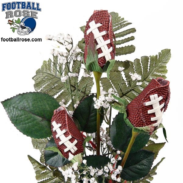 Football Rose Three Stem Vase Arrangement   Great Football Gift For Home Or  Office $59.95