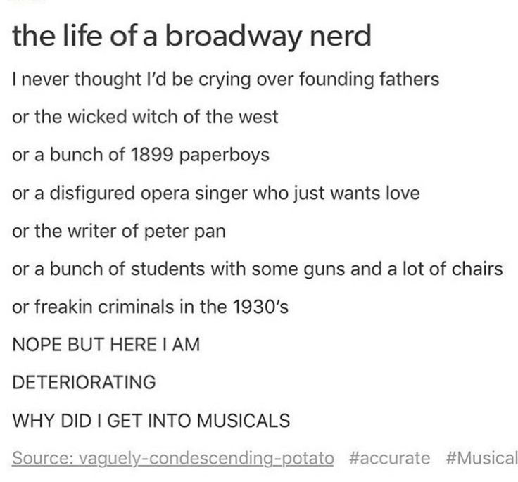 Hamilton, Wicked, Newsies, Phantom, Les Mis, Bonnie & Clyde