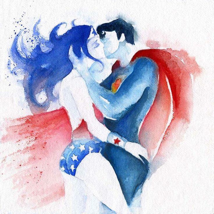 Arte en Acuarelas: Superman y Wonder Woman Superlove
