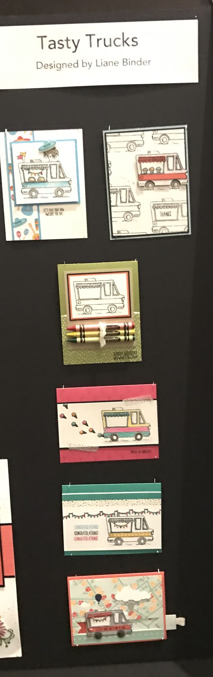 """The """"Tasty Trucks"""" stamp set is from the Stampin' Up! 2017 Sale-a-bration Catalogue.  This display was made by Canadian Liane Binder!"""