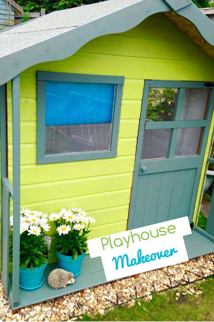5x5 kids playhouse. Painted using Cuprinol Garden Shades, Sunny Lime & Wild Thyme