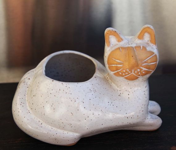 David Stewart Lion's Valley Style CAT Planter Vintage Pottery Glazed in Specked Stone California Terracotta Planter