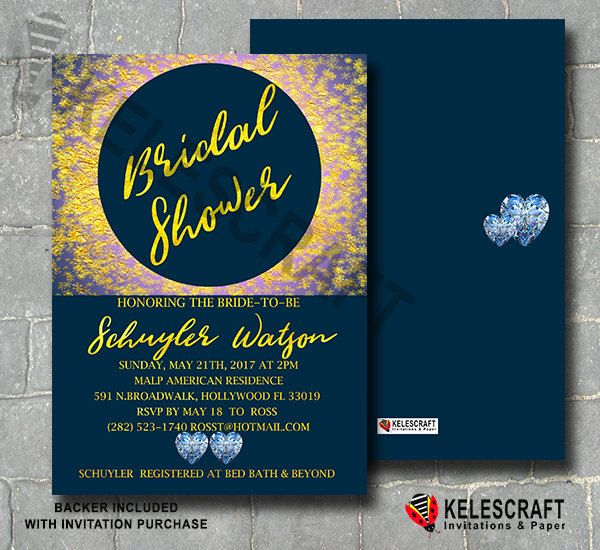 Gold Shine Bridal Shower Invitation Navy Gold Glitter Diamond Hearts Invite Bride Shower Wedding Announcement Invitation DiY Printable by KelesCraft on Etsy
