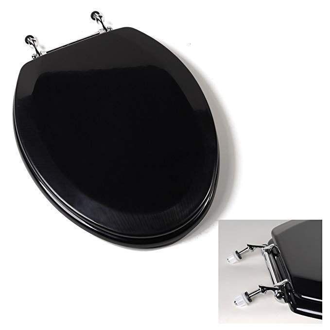 Deluxe Black Wood Elongated Toilet Seat Chrome Hinges Amazon