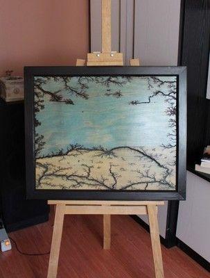 Nowy obraz wypalany w drewnie drewno rama
