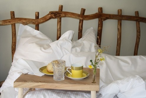 Bed made of natural elm branches.  Note the bed tray.  By Frank Switzer. www.frankswitzer.dk