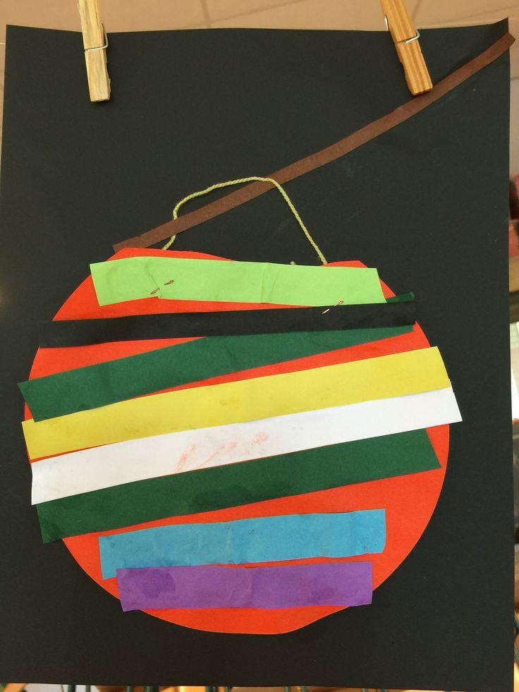 Meetopdracht groep 1 lampion Sint maarten. Plak een grote cirkel (kapje eraf) en kinderen meten de stroken