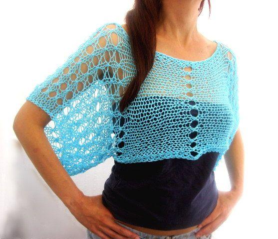 Baumwolle Sommer kurze Pullover zucken in Aqua blau von Rumina