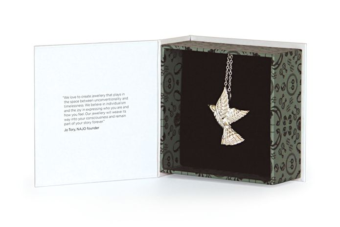 Najo jewellery packaging. Brand created by Truly Deeply.