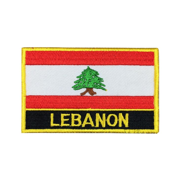 Lebanon Flag Patch Embroidered Patch Gold Border Iron On patch Sew on Patch Bag Patch meet you on www.Fleckenworld.com