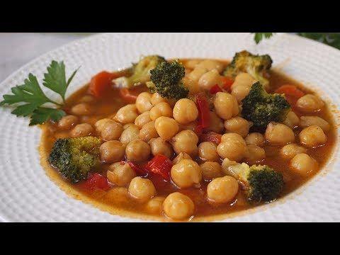 Garbanzos con verduras. Muy fácil y saludable.
