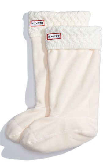 Hunter brand boot socks - to wear inside of your favorite rain boots. the top folds over the outside of your boots. such a cute look!