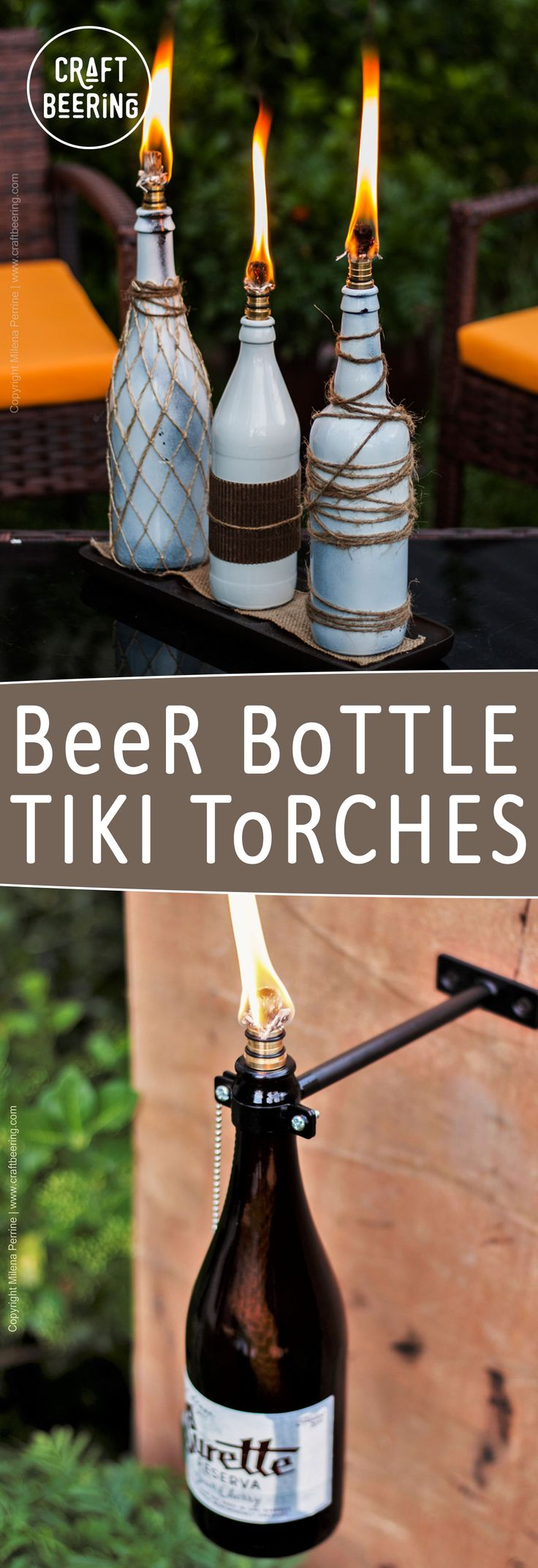 Beer bottle tiki torches. Mountable (use this kit - http://amzn.to/2uVHs8Y) or table top (with these wicks http://amzn.to/2uf8ydo )