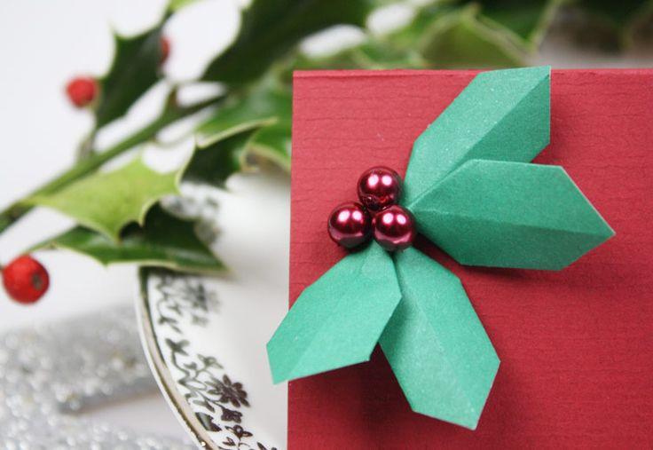 Stechpalme aus Papier falten - super für weihnachtliche Deko